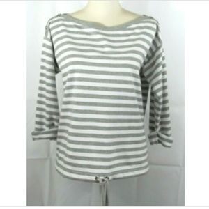 Anne Klein Top Gray White Stripe Small